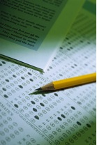Picture of multiple choice test and pencil