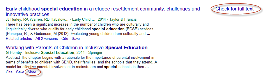 Screenshot of sample Google Scholar search results page with the Check for full text link and More option showing