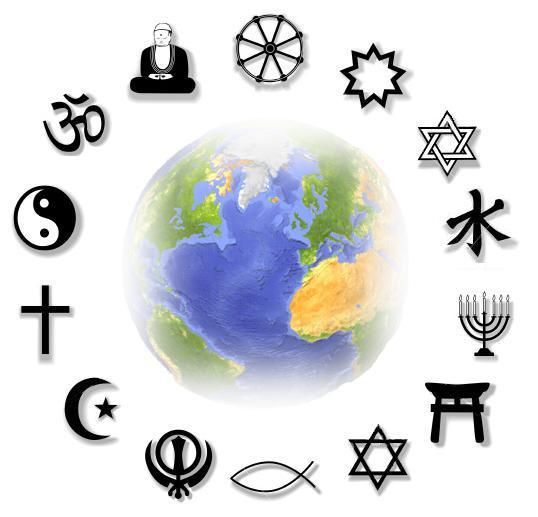 Image of the globe with many religious symbols circling it