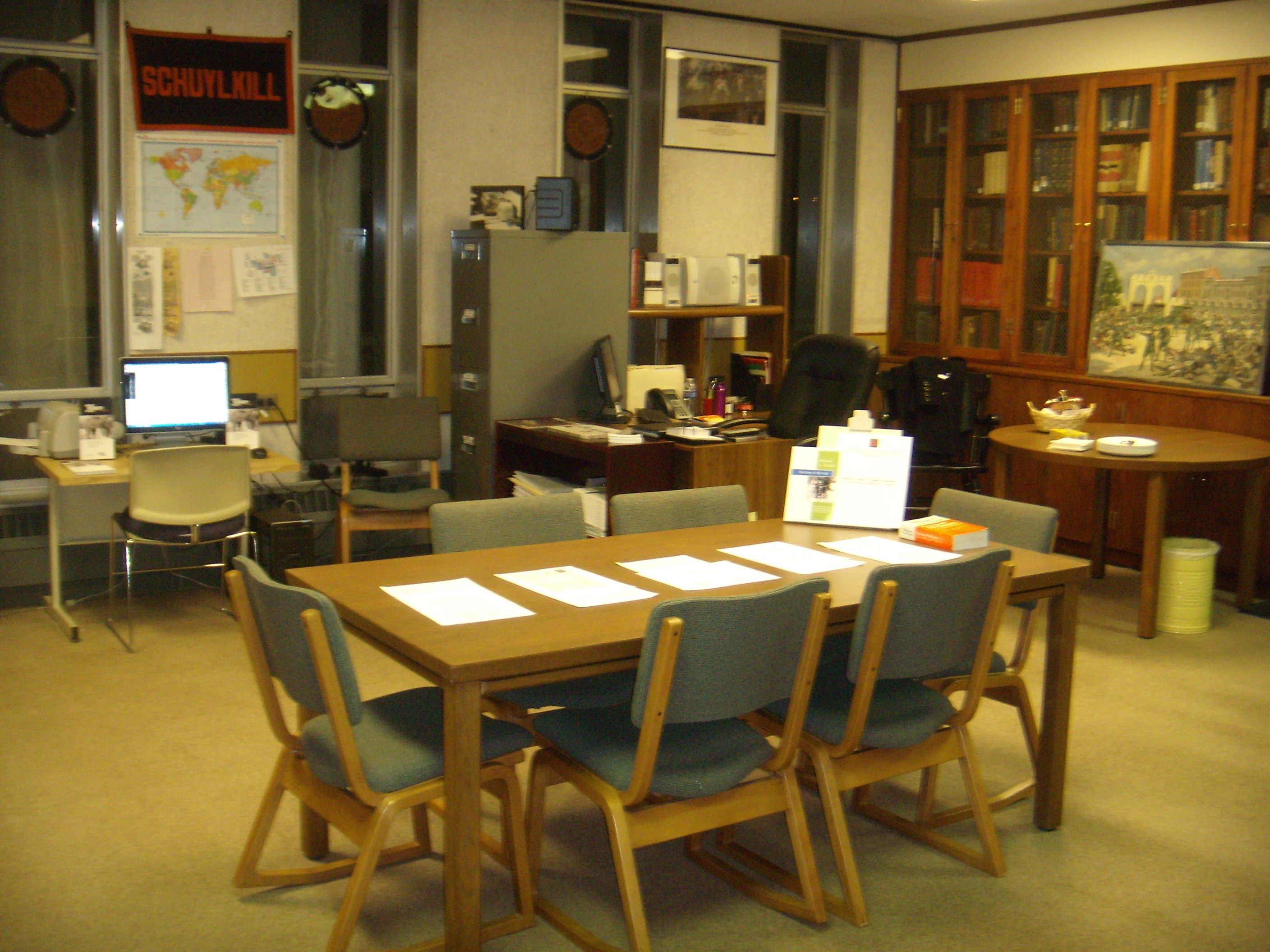 Setup for the Winter 2013 Open House. Table featuring German to English translations of selected documents from the Richard J. Yashek collection.