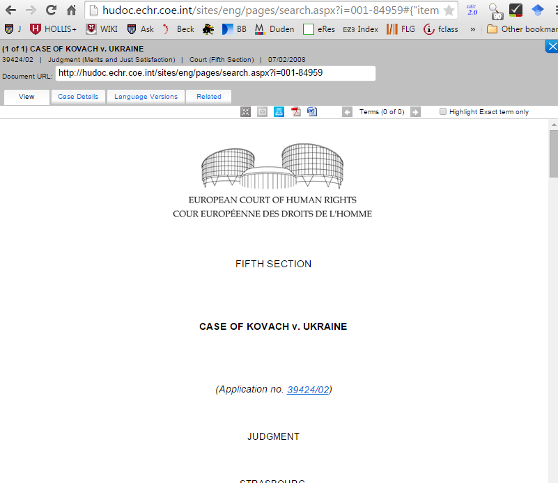 screenshot of case found on Council of Europe's HUDOC database