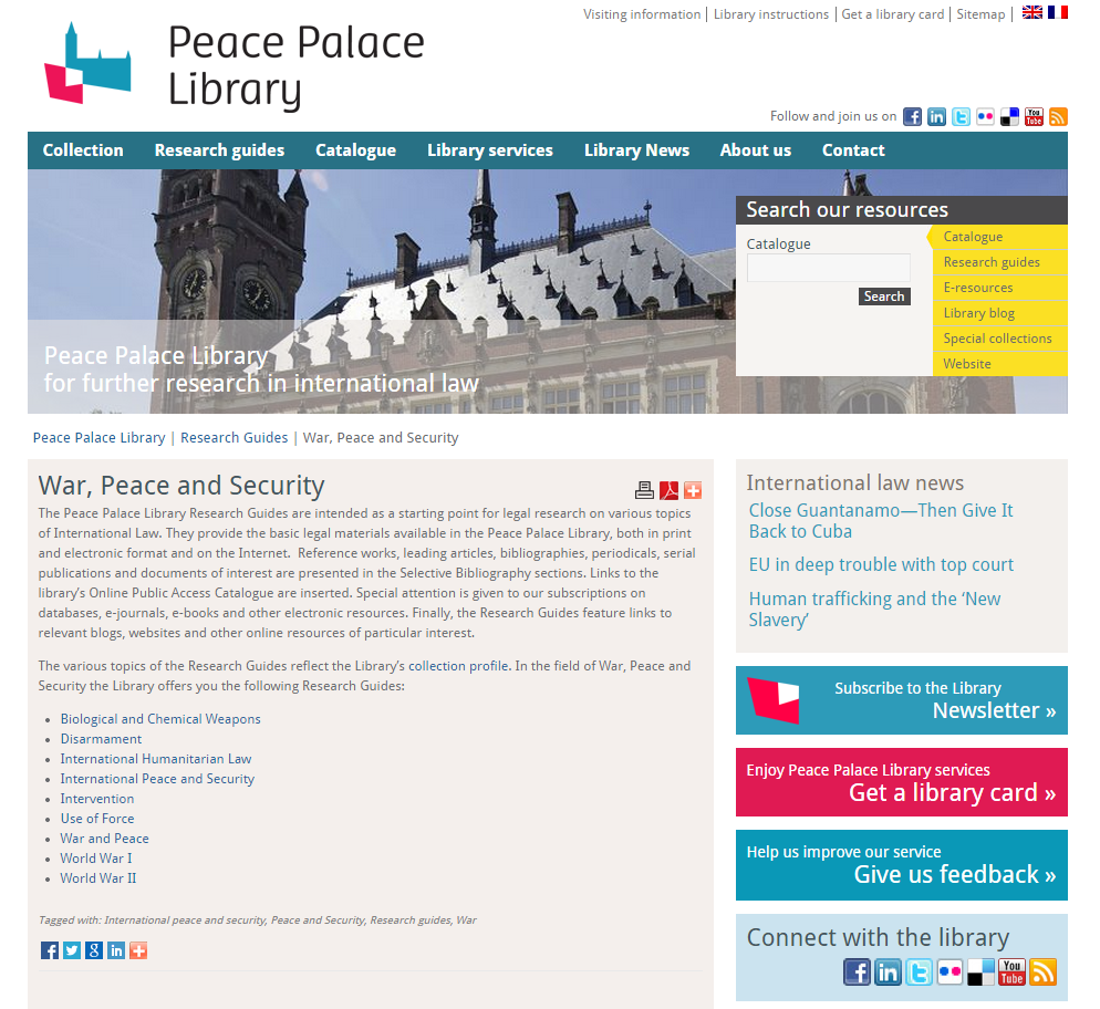 Screenshot of Peace Palace Library Home Page