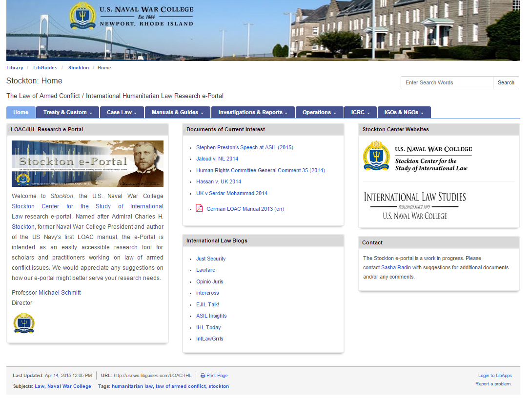 Screenshot of Stockton e-Portal on U.S. Naval War College website