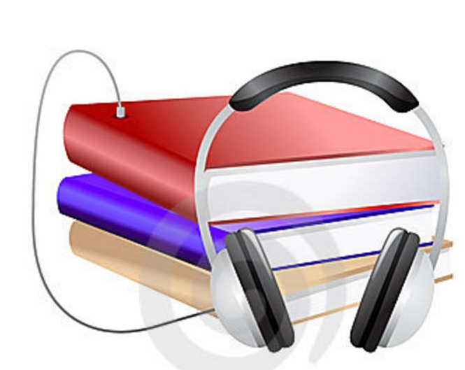 books with headphones attached