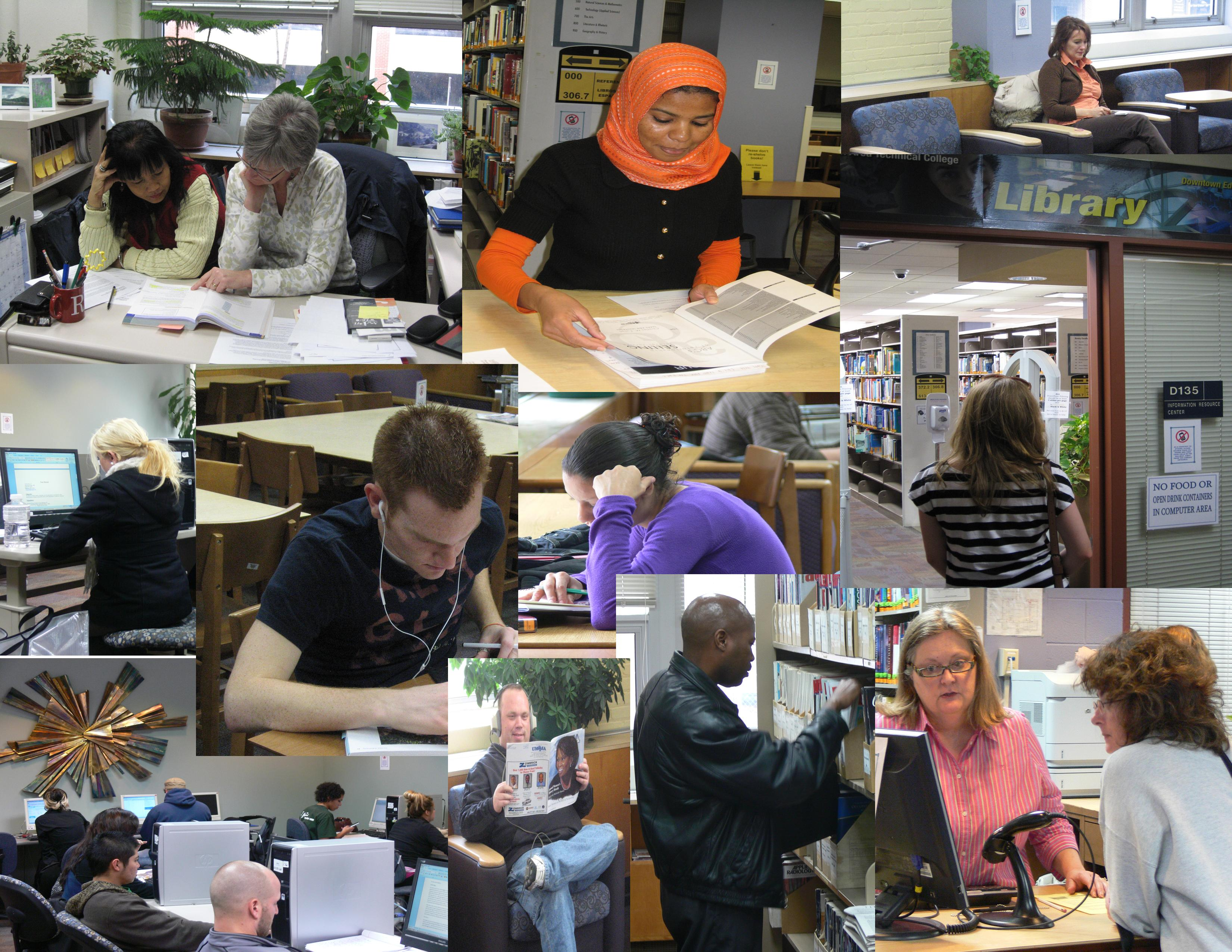 Collage of photos of students working in the Downtown library