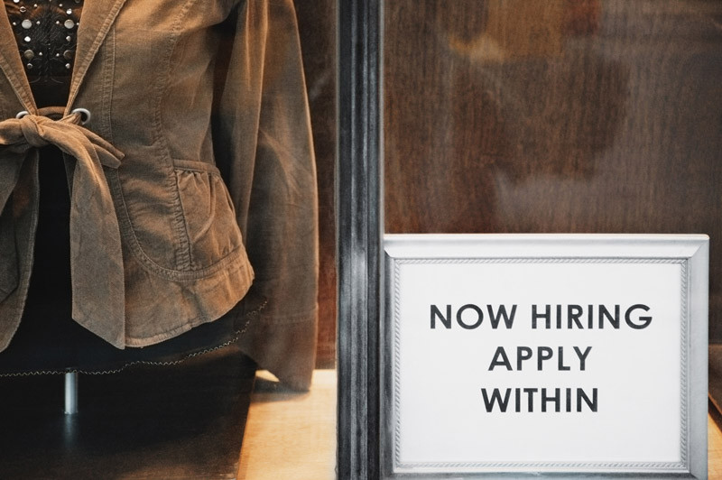 """sign reading """"now hiring apply within"""""""
