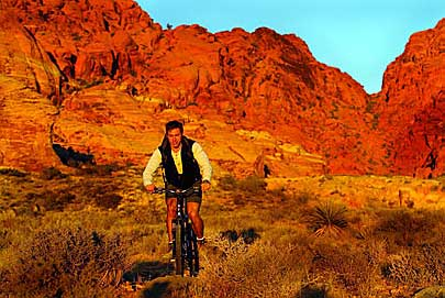 Mountain biker enjoys the terrain just outside of Las Vegas, Nevada.