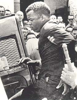 SNCC leader John Lewis arrested at the Edmund Pettus Bridge