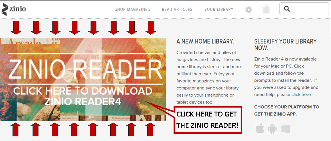 Getting the Zinio Reader software