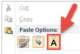 A red arrow points to a small clipboard with a capital letter A, representing the Text-Only Paste option.