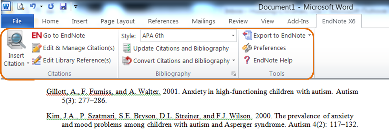 Creating bibliographies in Word with EndNote