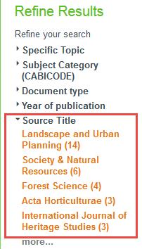 screenshot of source titles for journals
