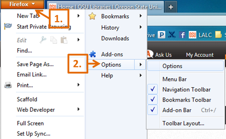 Firefox Options Menu