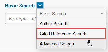 """screenshot of a Web of Science searchbar highlighting """"cited reference search"""""""