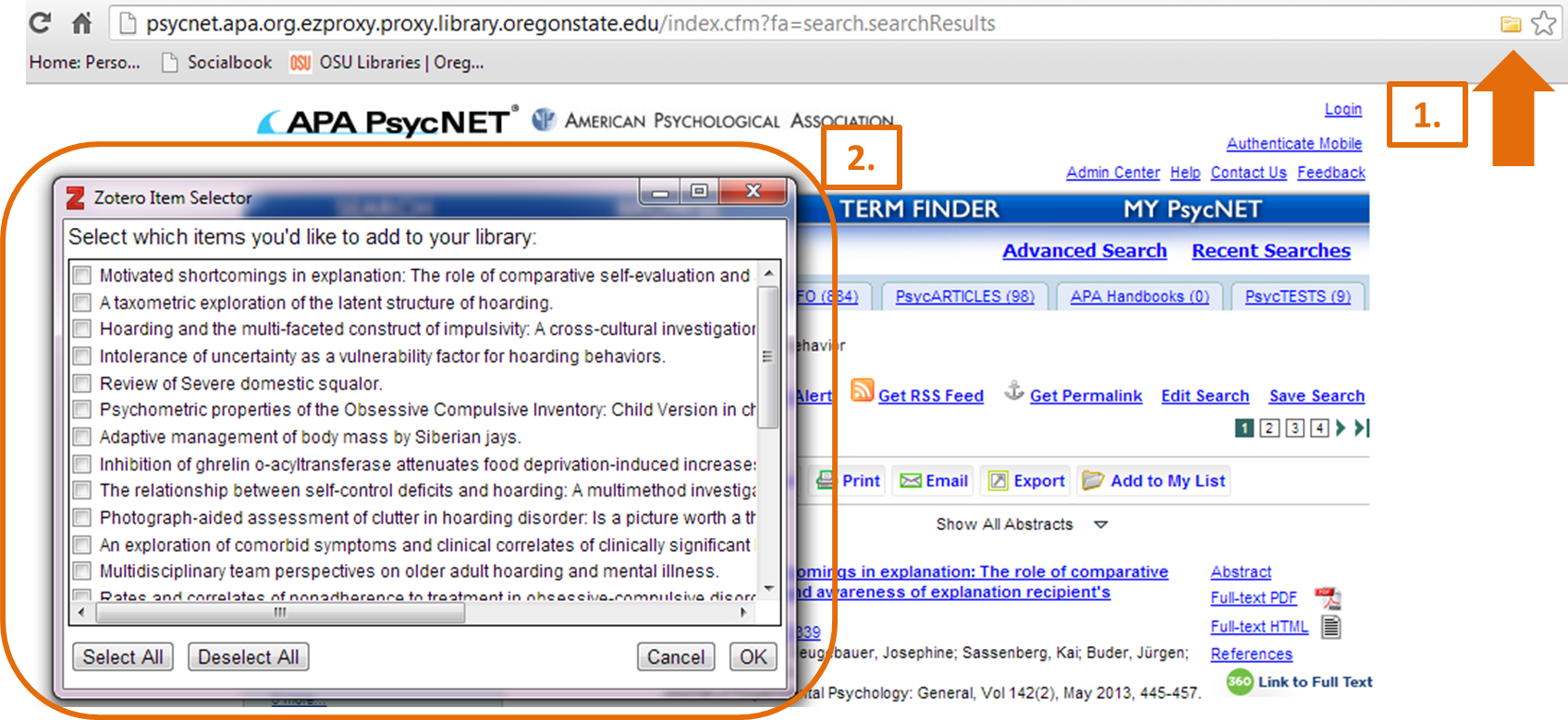 Creating a library from articles in a database with Zotero