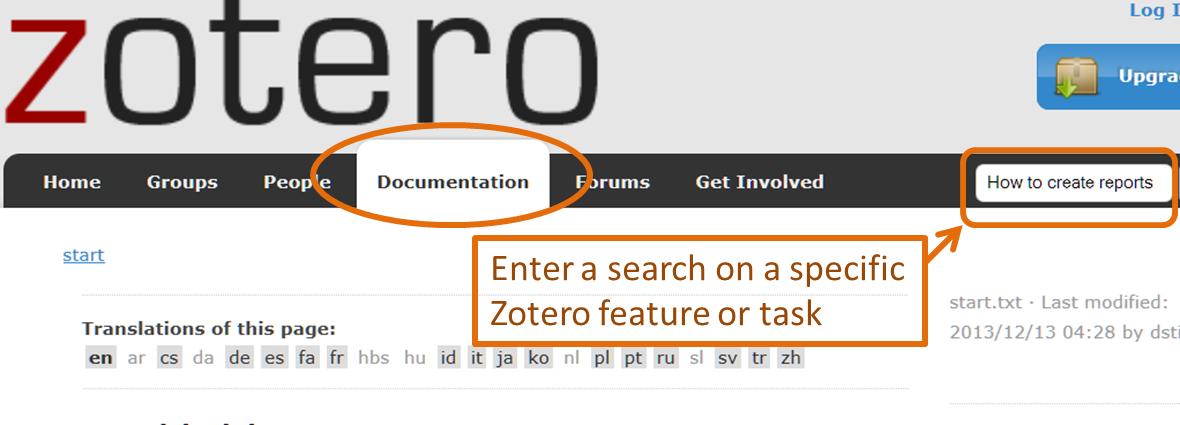screenshot of zotero documentation tab