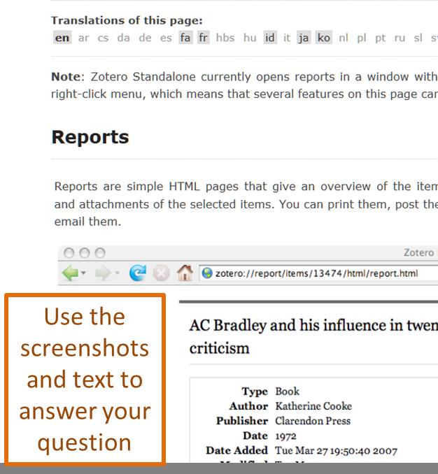 screenshot of zotero documentation for help