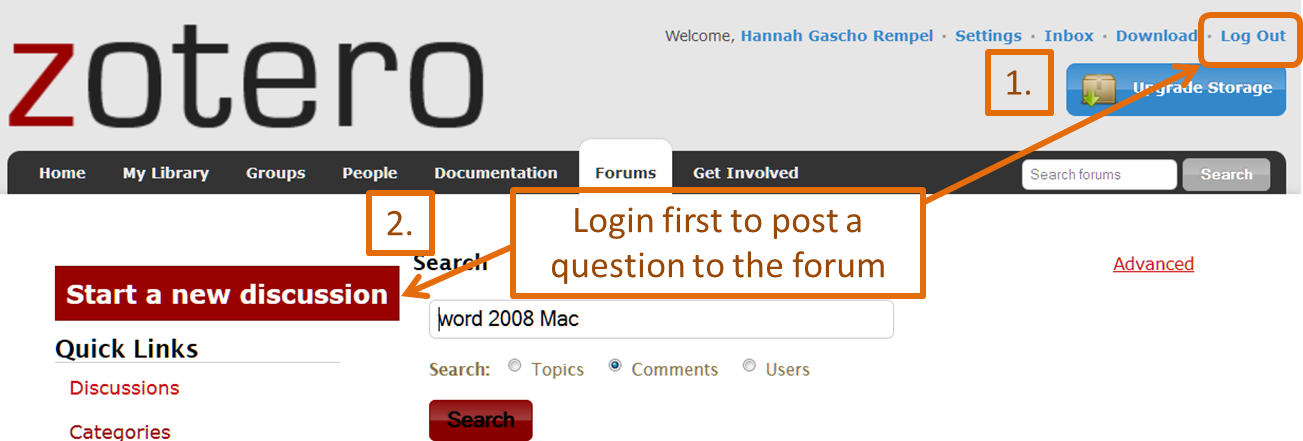 screenshot of zotero discussion help page