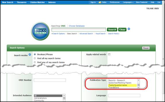 ERIC Limit - PUblication Type - Tests/instruments
