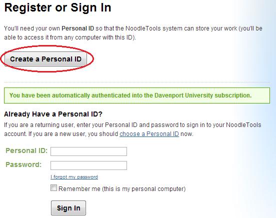 Create a Personal ID