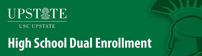 USC Upstate High School Dual Enrollment with green spartan head logo
