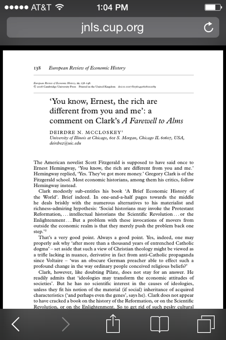 Ernest Hemingway article from Cambridge Journals