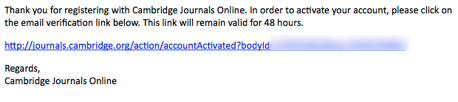 Email you'll receive from Cambridge Journals