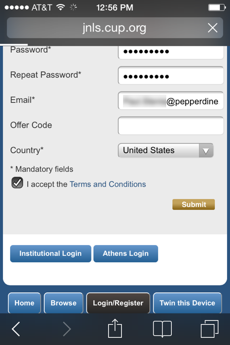 Log in to the site on your phone using your new log in credentials