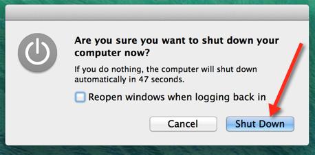 Laptop shutdown
