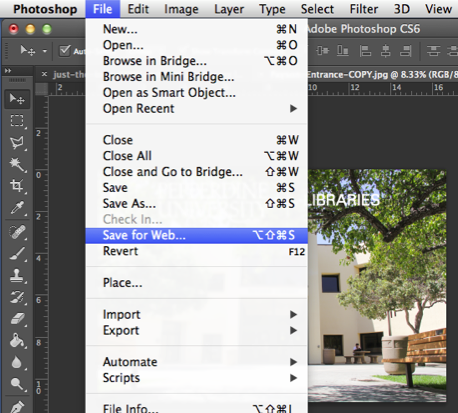 Layers: Save for Web dropdown