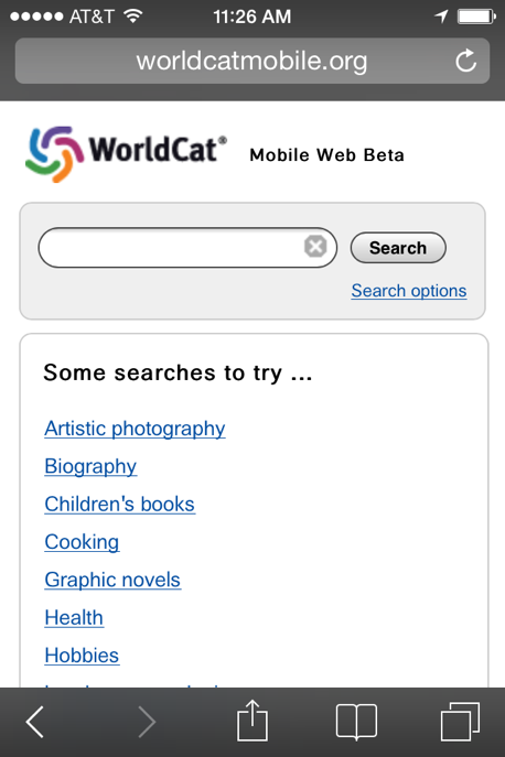 WorldCat Mobile Search Screen