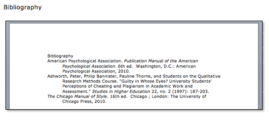 The bibliography includes each of the citations you've used, and shows the full citation ie more information than the in-text citation
