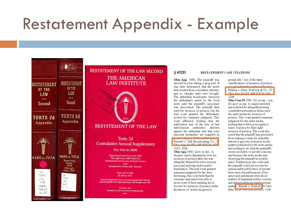 Example of a restatement's appendix