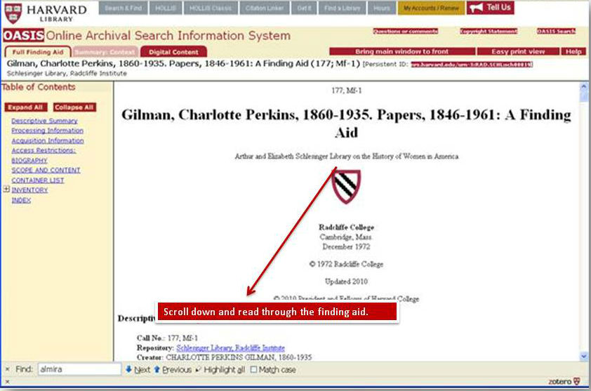 Screenshot of finding aid for call #177