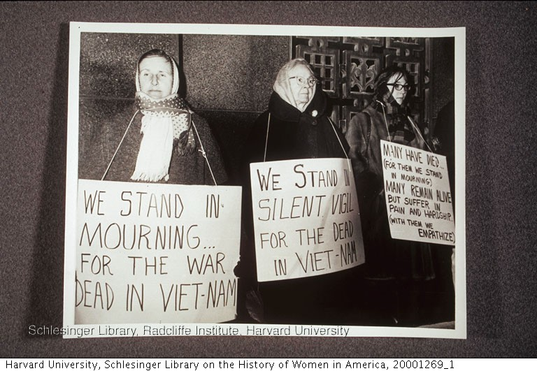Florence Luscomb (center) and two other women standing in vigil for the Vietnam War dead, ca.1968-1975