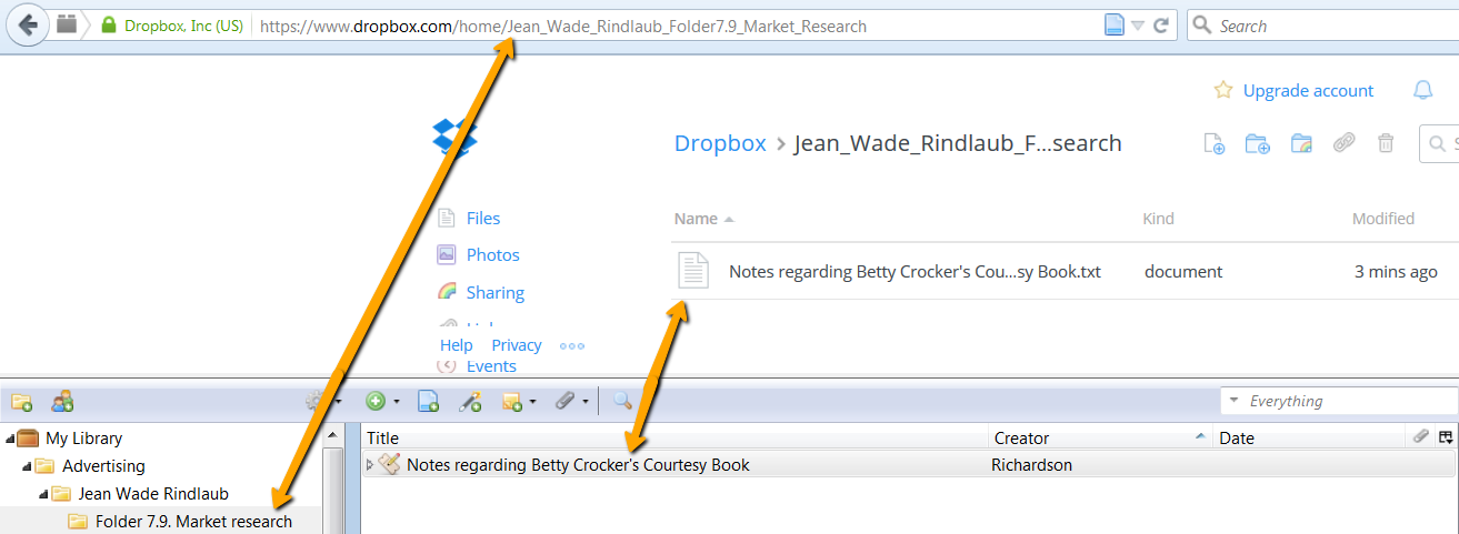 screenshot: sample dropbox setup