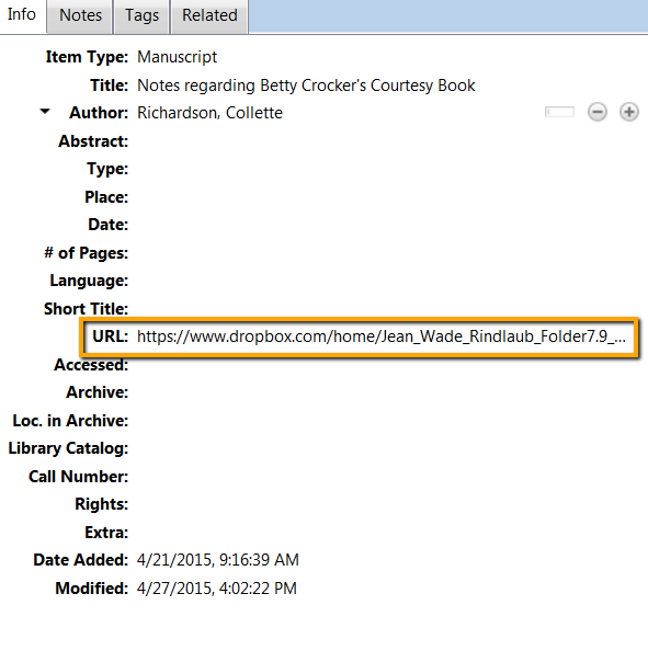 screenshot: dropbox url in zotero item