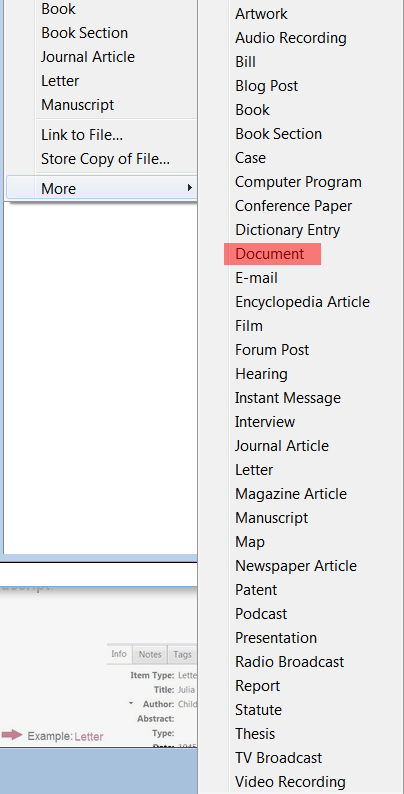 screenshot: zotero item types