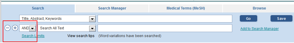 Screenshot of search box