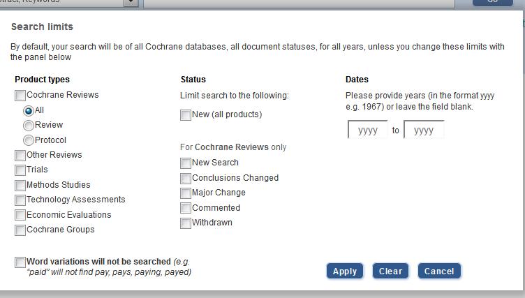 Screenshot cochrane search limits