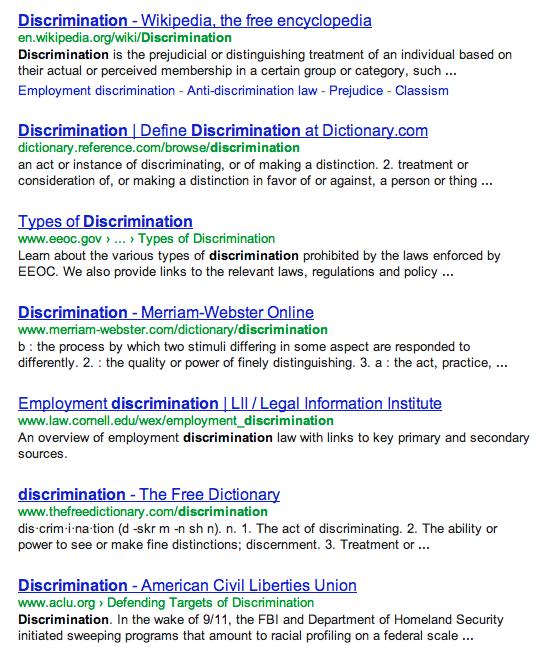 """Google Results for """"Discrimination"""""""