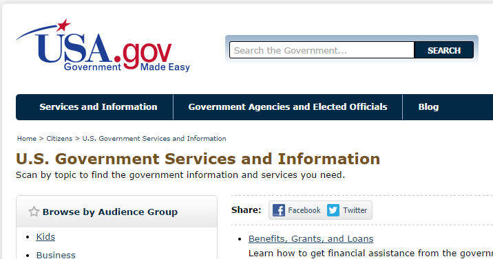 USA.gov image and link
