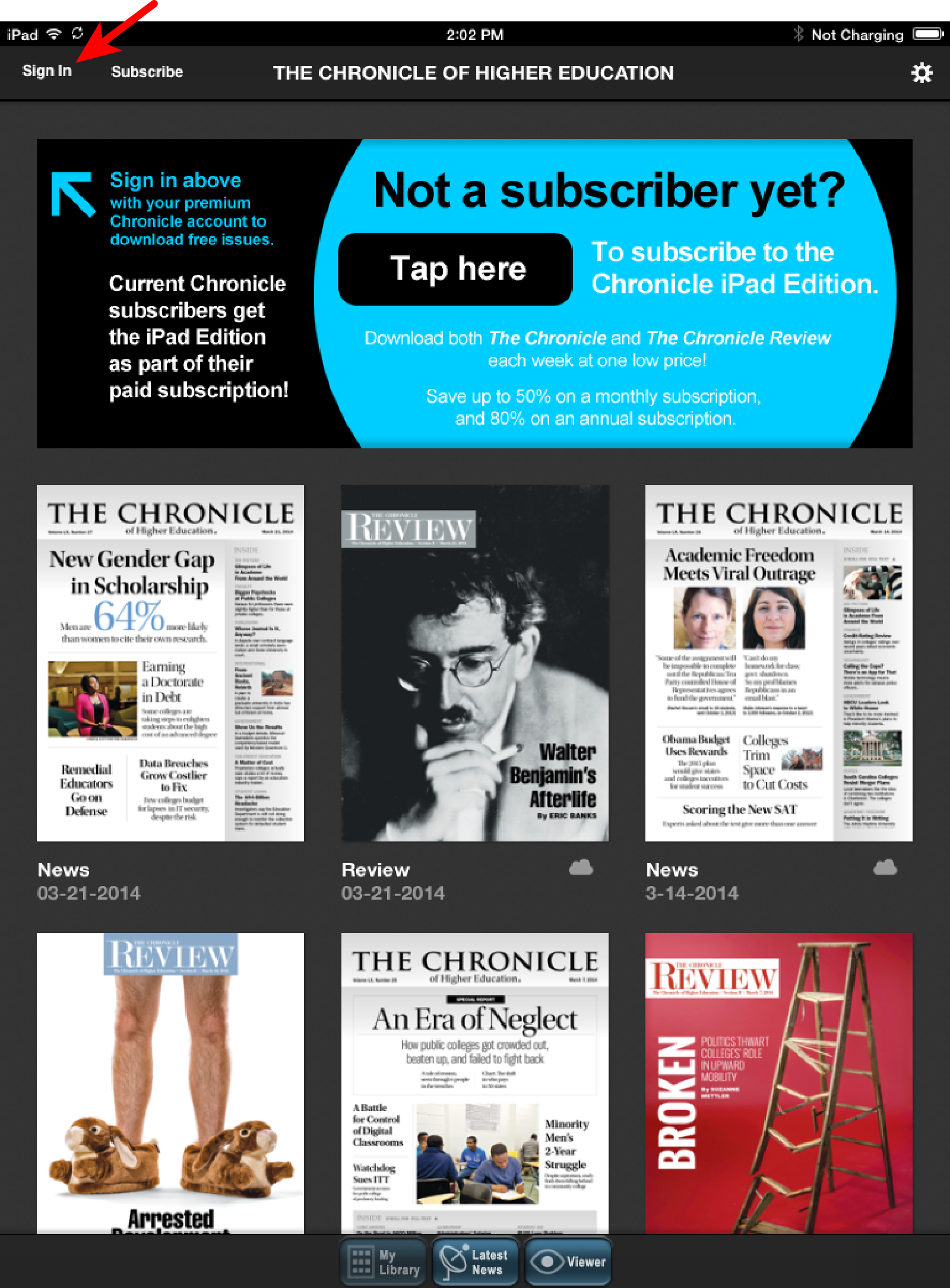 Chronicle on iPad app