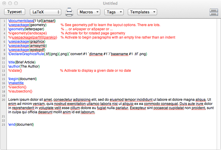 Sample LaTeX document markup