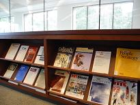 Library shelf with magazines