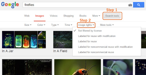 screenshot of how to filter by Creative Commons license