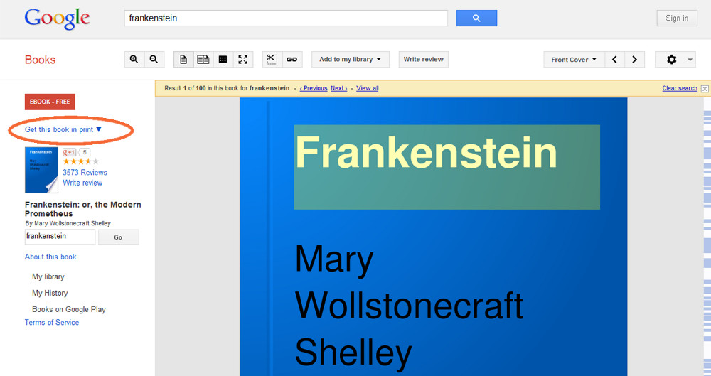 Google Books Screenshot with Get this book in print circled