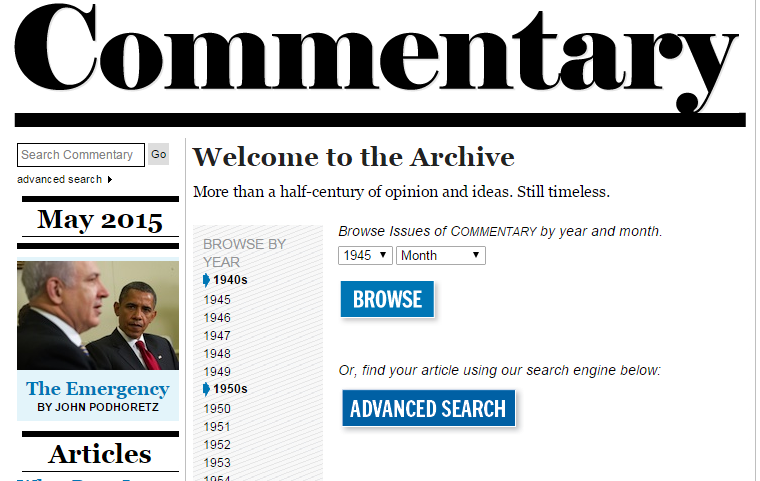 """Screenshot of Commentary archive page. Reads """"Welcome to the Archive"""" and then lists the dates from which issues are available."""