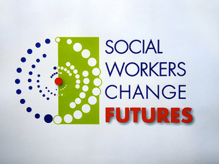 "Image with text ""Social workers change futures."""