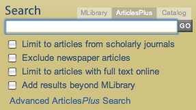 ArticlesPlus Search Box